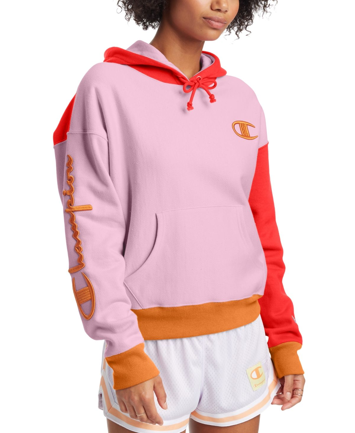 Champion Reverse Weave Colorblocked Hoodie Icecake Redflame Ornamentlrust Champion Clothing New Outfits Hoodies [ 1466 x 1200 Pixel ]