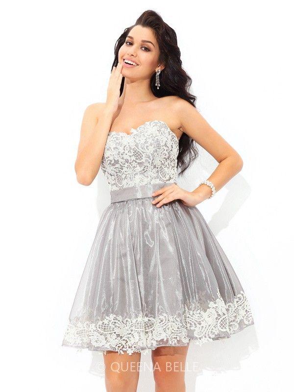 ebe994344f79 A-Line/Princess Sweetheart Sleeveless Short/Mini Lace Tulle Cocktail Dresses
