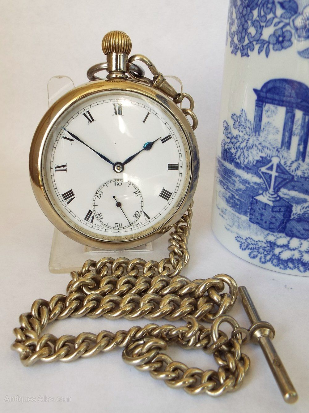 Antiques Atlas 1920s Swiss Pocket Watch And Chain Swiss Pocket Watches Pocket Watch Antique Pocket Watch Chain