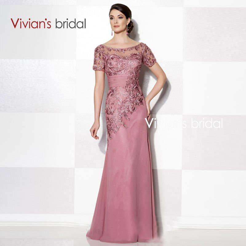 Vivian\'s Bridal Three Colors Short Sleeves Lace Applqiues Mother Of ...
