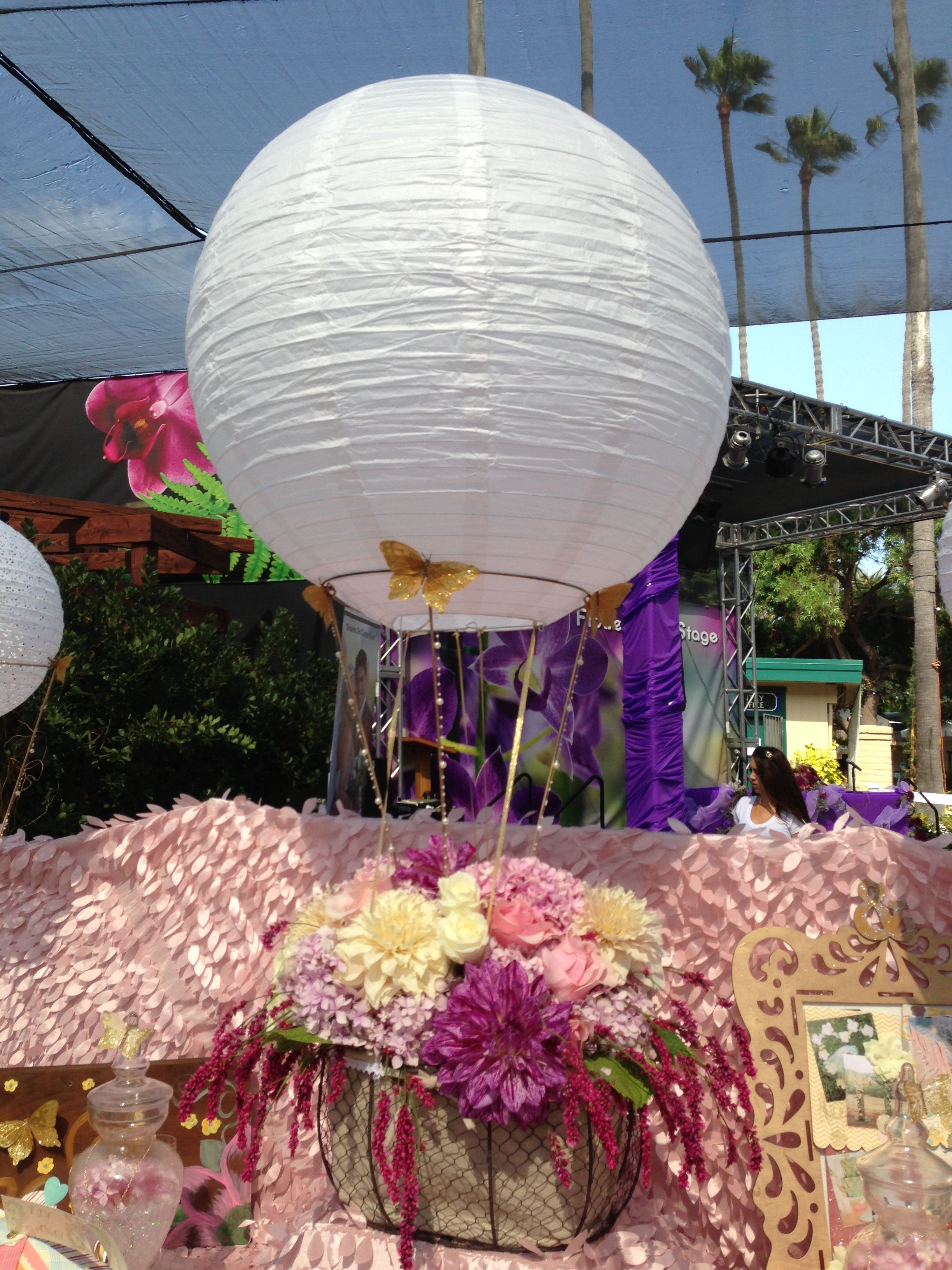 Wedding stage decoration with balloons  Paper Lantern balloon accents w gold butterflies   Whimsical
