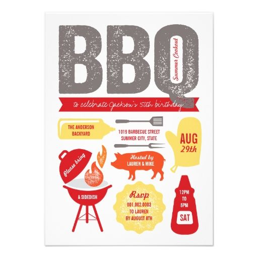 Backyard Summer BBQ Barbecue 50th Birthday Party Custom Invitations