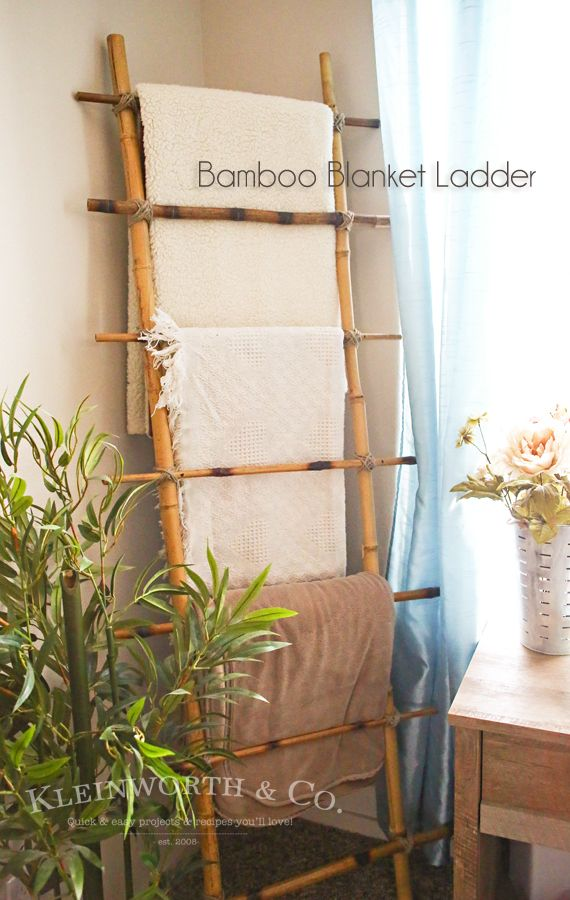 Some Bamboo Sticks Get Attached And A Practical Home Decor Item Is Born |  Wooden Ladder, Towels And Blanket