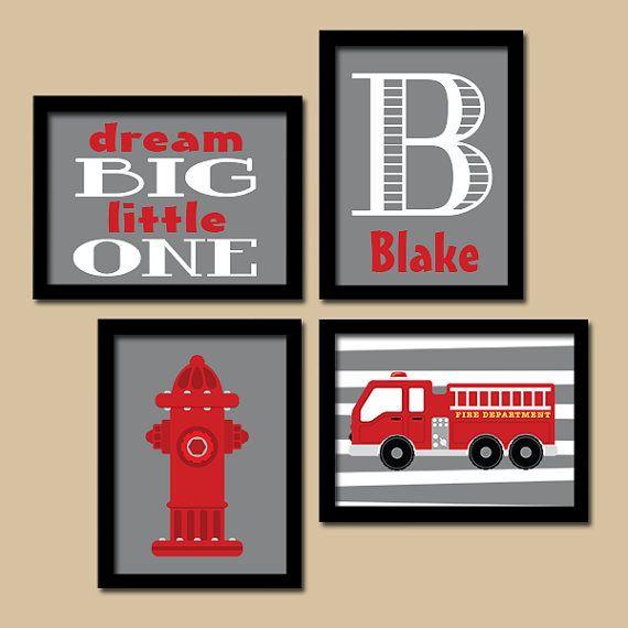 Fire Truck Wall Art Boy Artwork Child Name Hydrant By Trmdesign Fire Truck Room Fire Truck Wall Art Fire Truck Bedroom