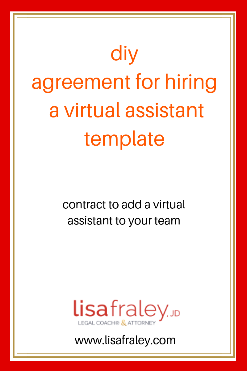 Agreement For Hiring A Virtual Assistant Diy Legal Template For Hiring A Virtual Assistant Virtual Assistant Templates Virtual