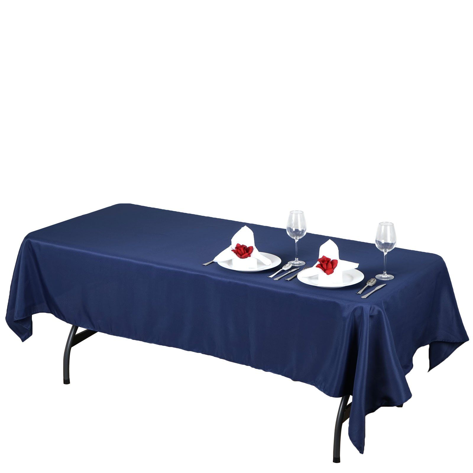 60x102 Navy Blue Polyester Rectangular Tablecloth Table Cloth