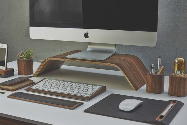 imagine the wooden office accessories were industrial metal that rh pinterest com Wood Desk Office Desk Supplies