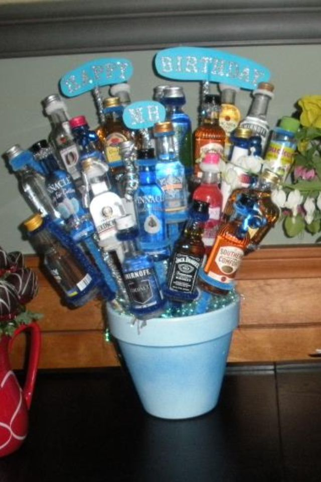blue booze basket liquor bouquet fundraiser baskets fundraising diy gifts great gifts