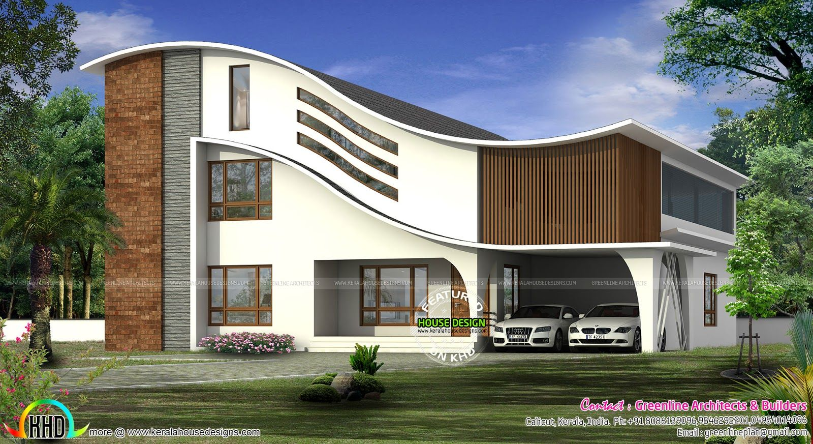 Wavy Roof Style Full Curved 4 Bedroom Modern Luxury House Plan By