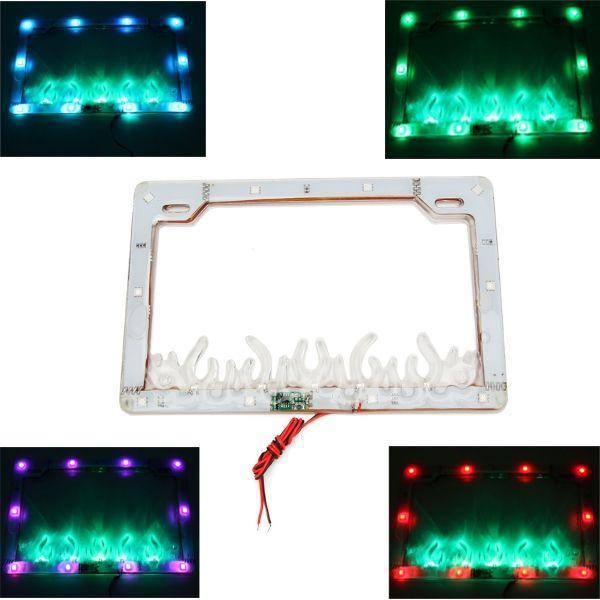 Colorido LED matrícula lámpara de destellos de luz marco para moto ...