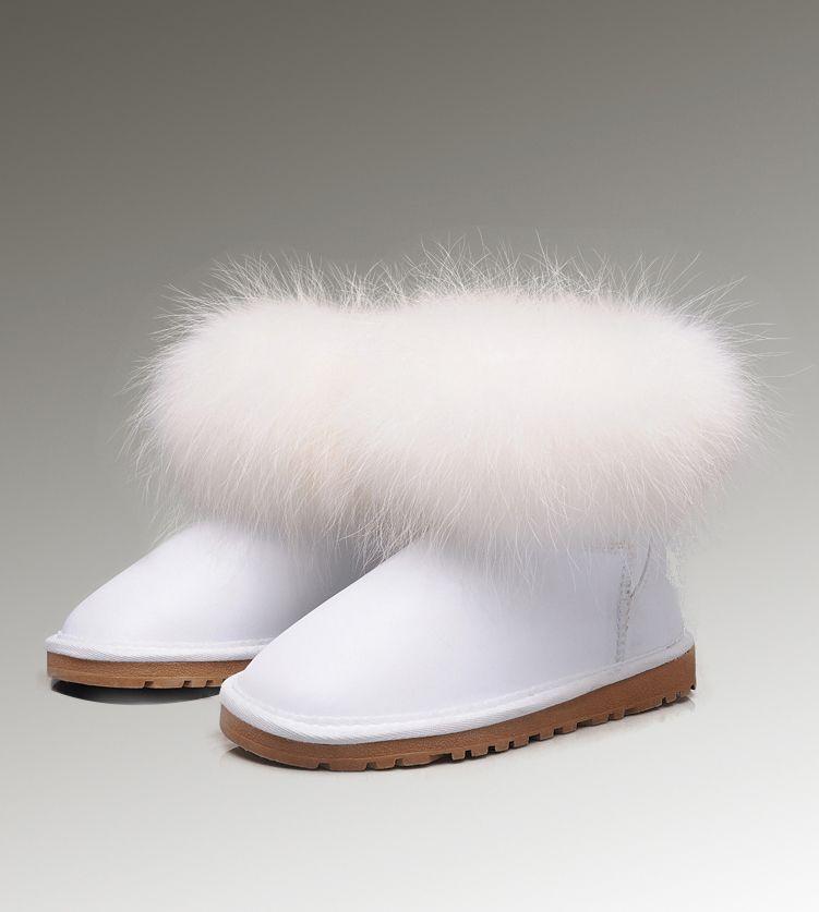 Ugg Mini Fox Fur 5854 White Boots Fox Fur Ugg Snow