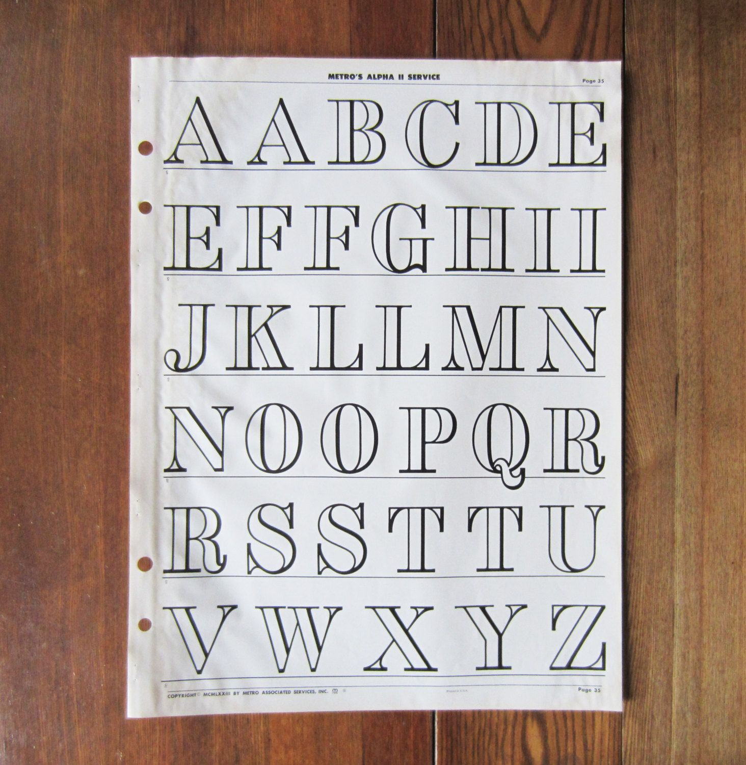 Large Vintage Uppercase Alphabet Typography Poster Page From A