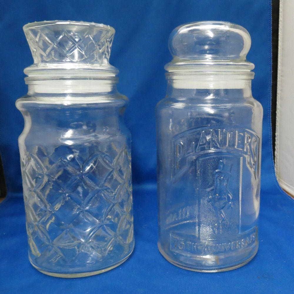 2 Glass Planters Peanuts Jars 1981 75th Anniversary 1984 Planters Peanuts Glass Planter Jar