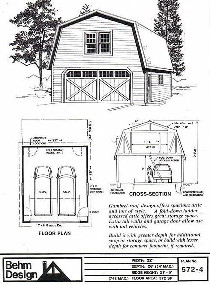 2 Car Suv Sized Gambrel Roof Garage With Attic Plan 572 4 22 X 26 By Behm Design Gambrel Roof Gambrel Garage Plans