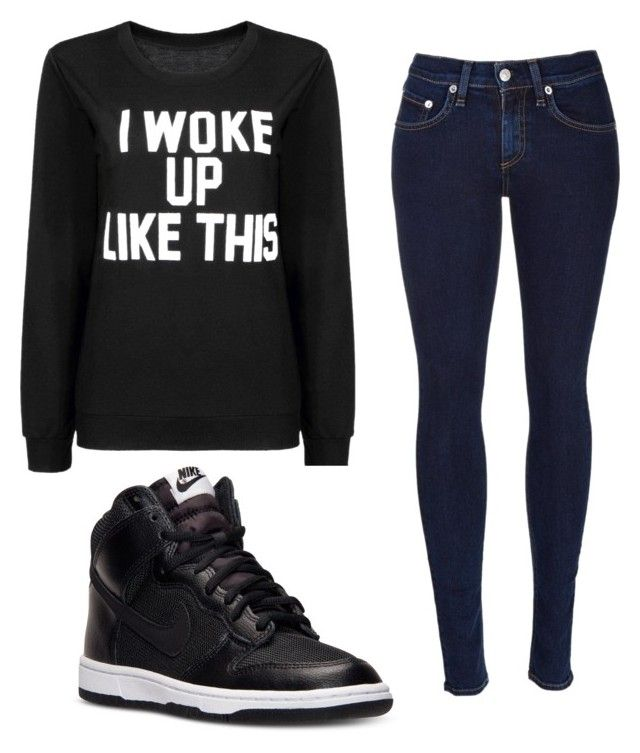 """""""So simple"""" by senida-th ❤ liked on Polyvore featuring rag & bone, NIKE, women's clothing, women, female, woman, misses and juniors"""