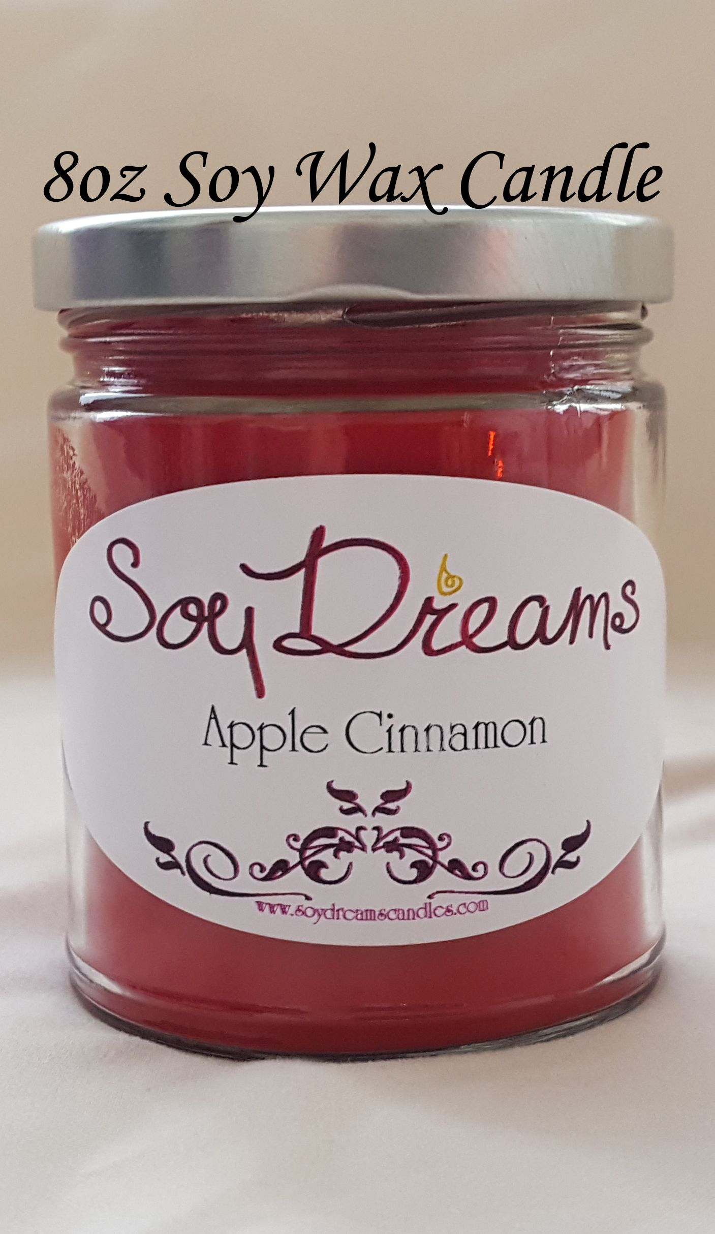 Le Cinnamon Soy Candle 8oz Jar Red Best Scented All Natural Wedding Favor Food Fall Scent
