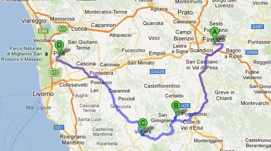 Florença-San Gimignano-Volterra-Pisa