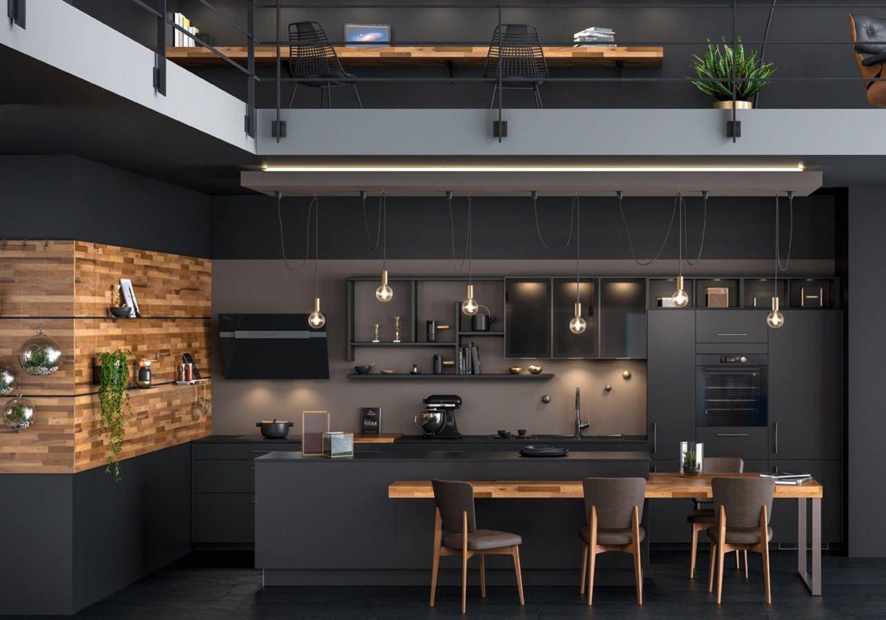 Cuisine Noire Et Bois Cuisine Noire Et Bois Credence Cuisine Noire Et Bois Ilot Cuis In 2020 Interior Design Kitchen Modern Kitchen Interiors Modern Kitchen Design