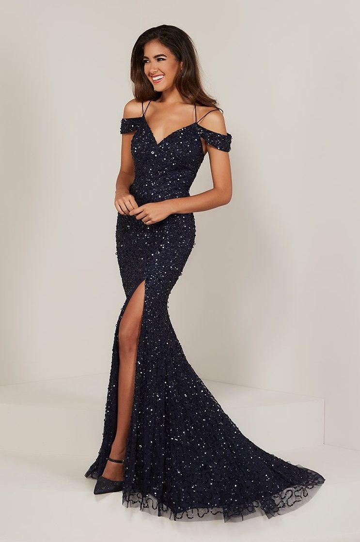 bab73d2153b5 Style 16335 from Tiffany Designs is an off the shoulder fitted prom gown  with a Sweetheart neckline