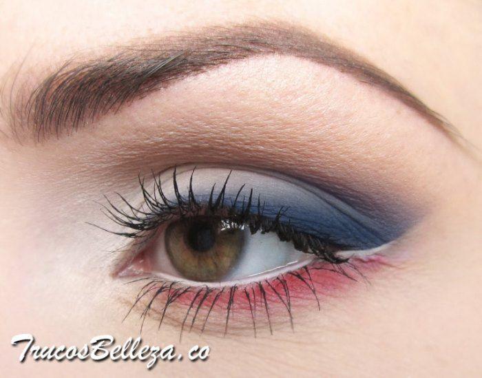 Maquillaje De Dia Con Sombra Azul Y Rojo Sombra De Ojos Azul