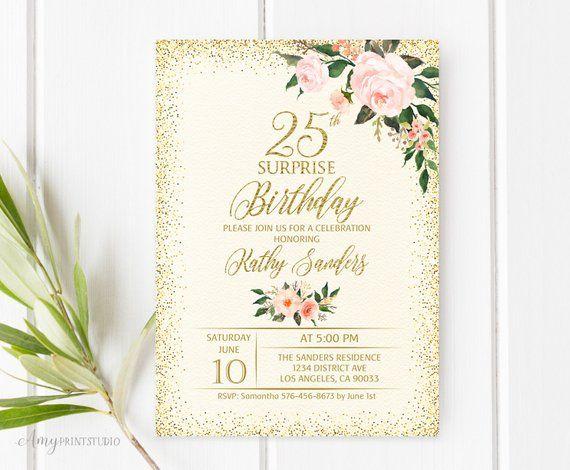 25th Birthday Invitation Floral Any Age Surprise Invite Cream Ivory