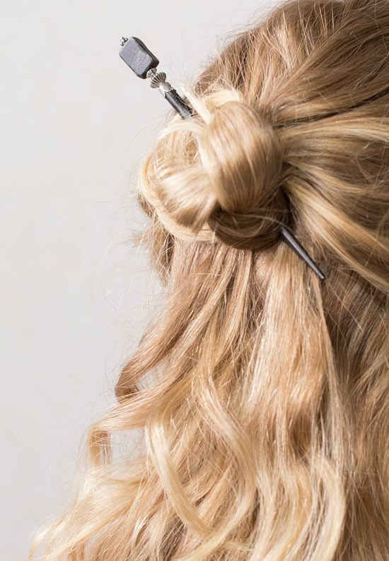 Beautiful Half Up Celtic Knot Bun Styled With The Adrianna Hair
