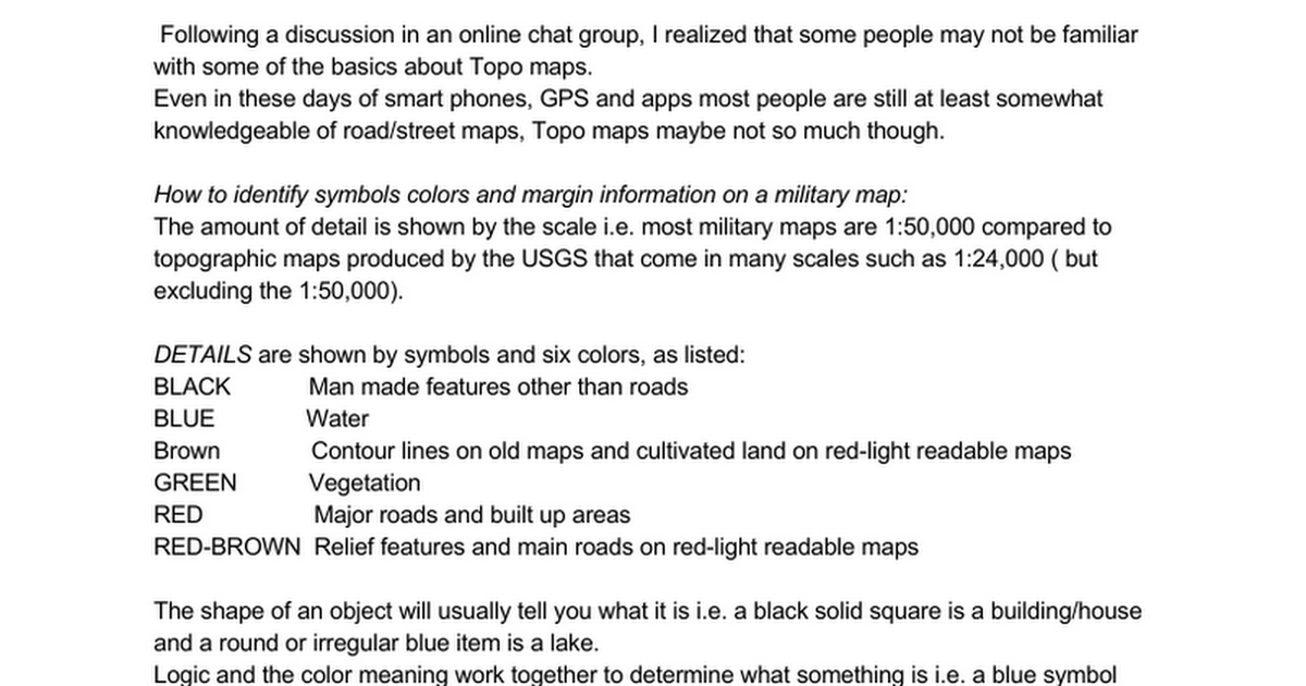 Military Topographic Maps Basics Following A Discussion In An Online