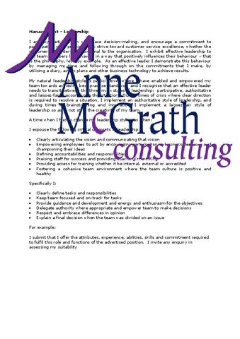 Management Leadership Professional Resumes Anne McGrath