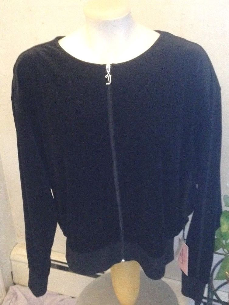 JUICY COUTURE Sparkling Black Dolman Sleeve Velour Jacket SIZE L RET. $60 NWT! #JuicyCouture #BasicJacket