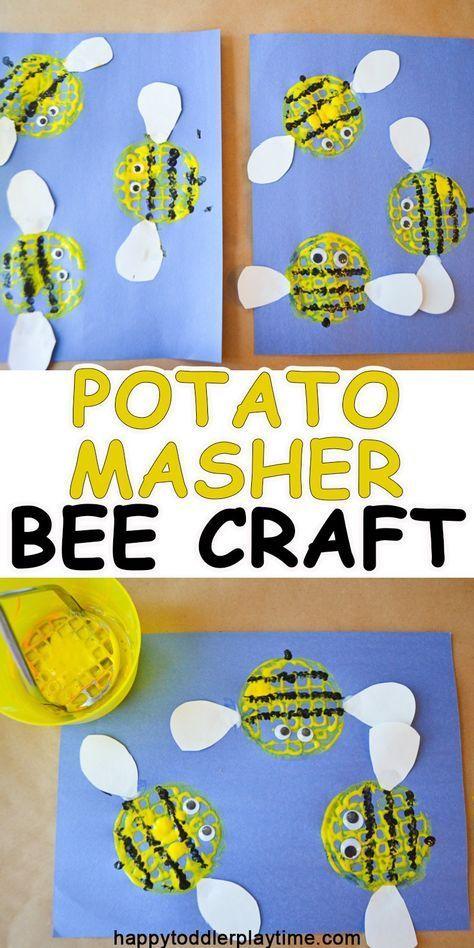 Potato Masher Bee Craft - HAPPY TODDLER PLAYTIME