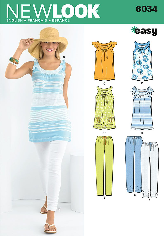 Patterns - New Look 6034 MISSES SPORTSWEAR look for leggings ...