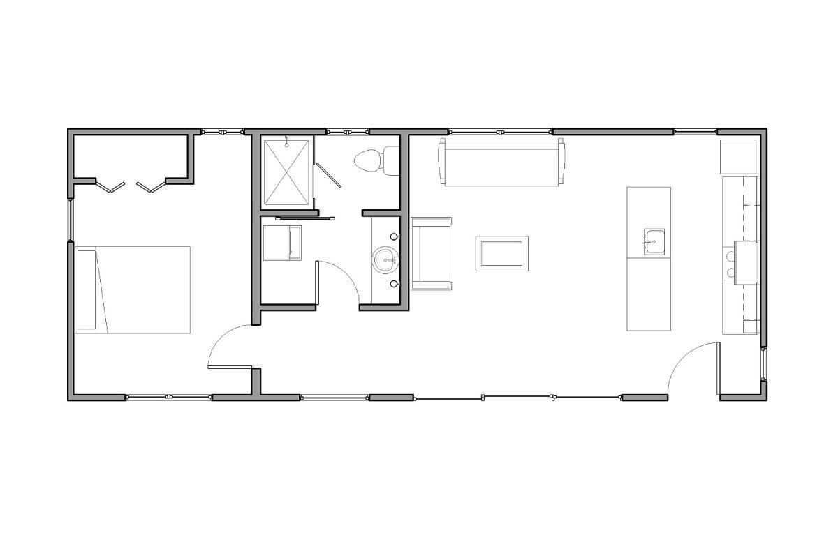 Floor Plan Of La Arboleda Retreat Cabin By Reclaimed Space