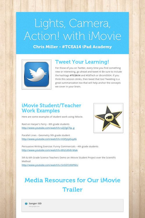 Lights, Camera, Action! with iMovie Digital Handout from #TCEA14 ...