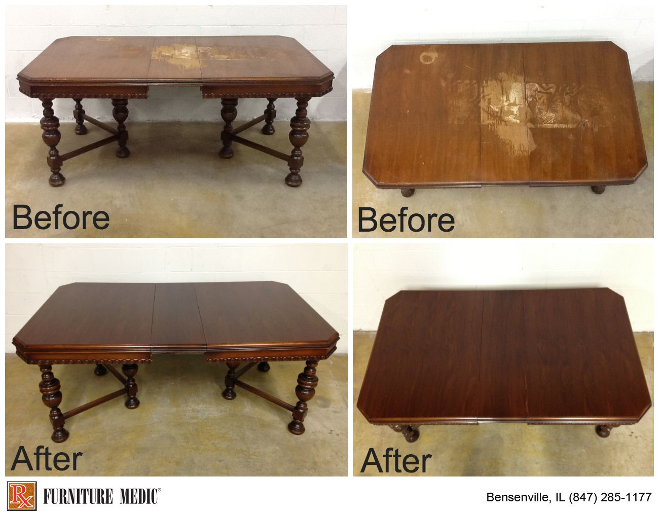 Restored And Refinished Dining Room Table That Had Severe Water