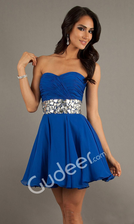 Royal Blue Strapless Short Formal Dresses