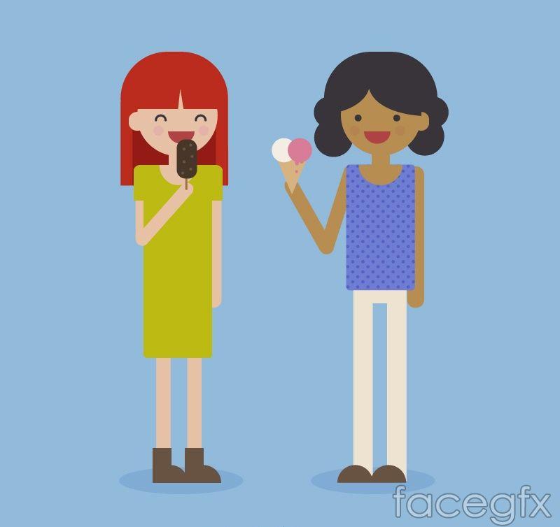 2 ice cream girl vector