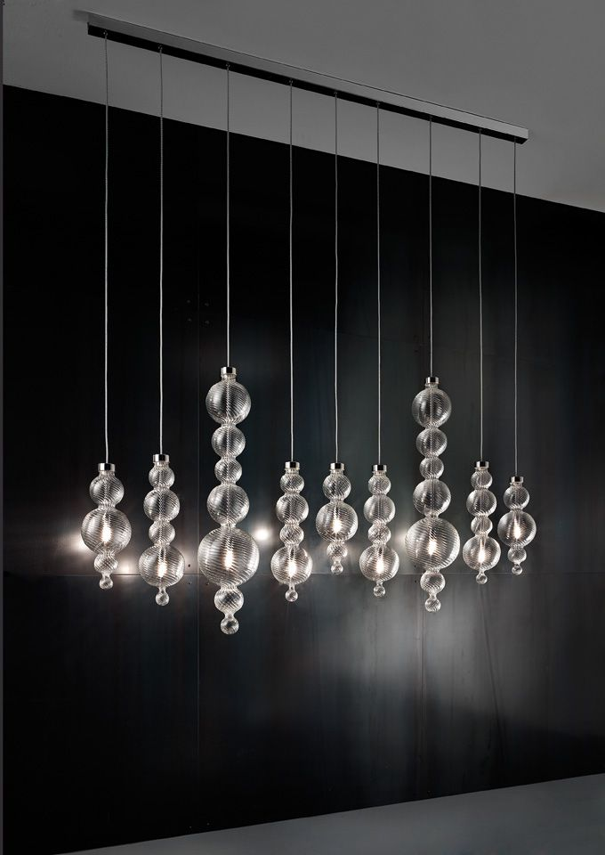 Evi Style linear pendant lamp in transparent blown glass - San Marco SO9B