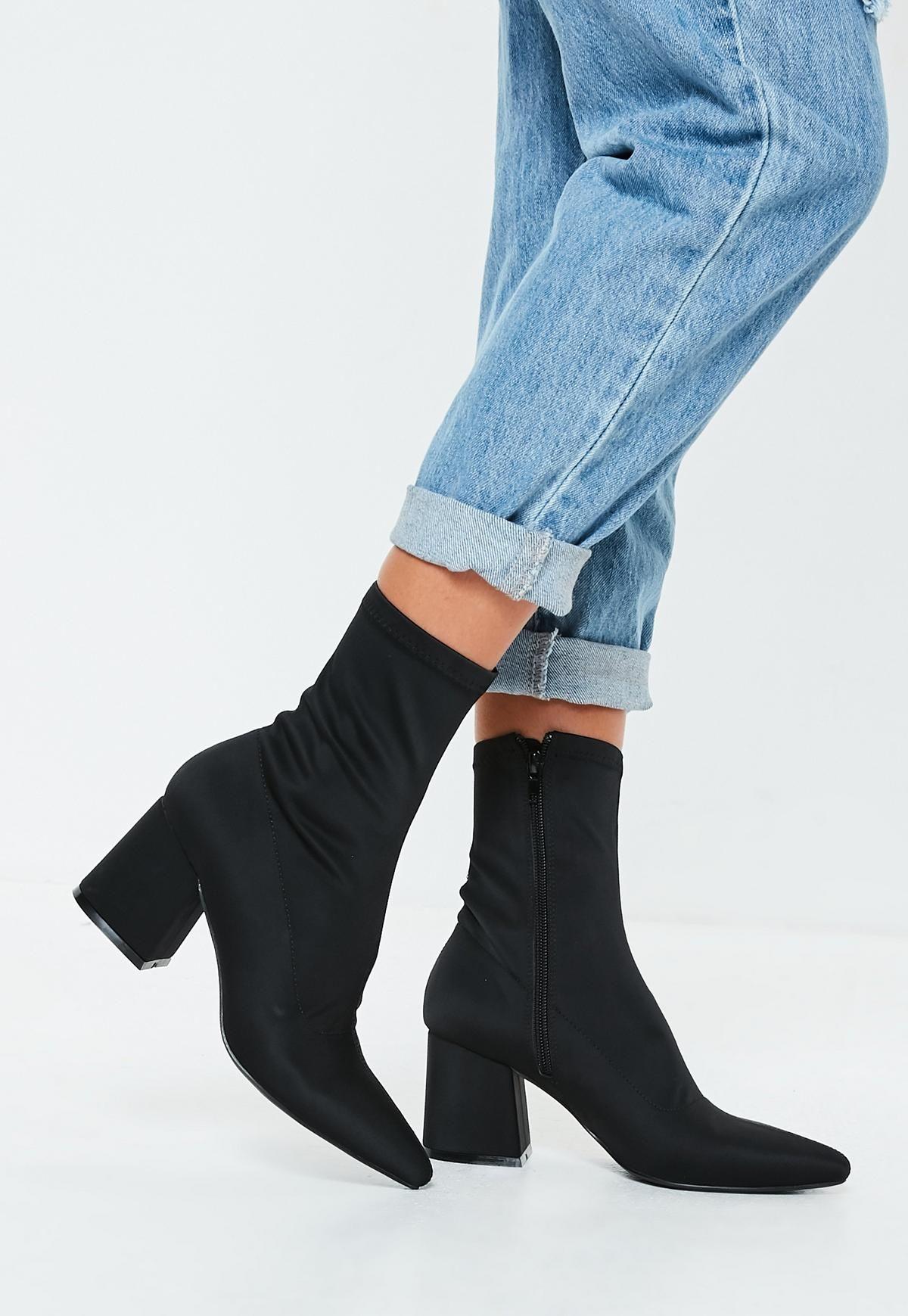 Black Mid Heel Sock Boots | Missguided