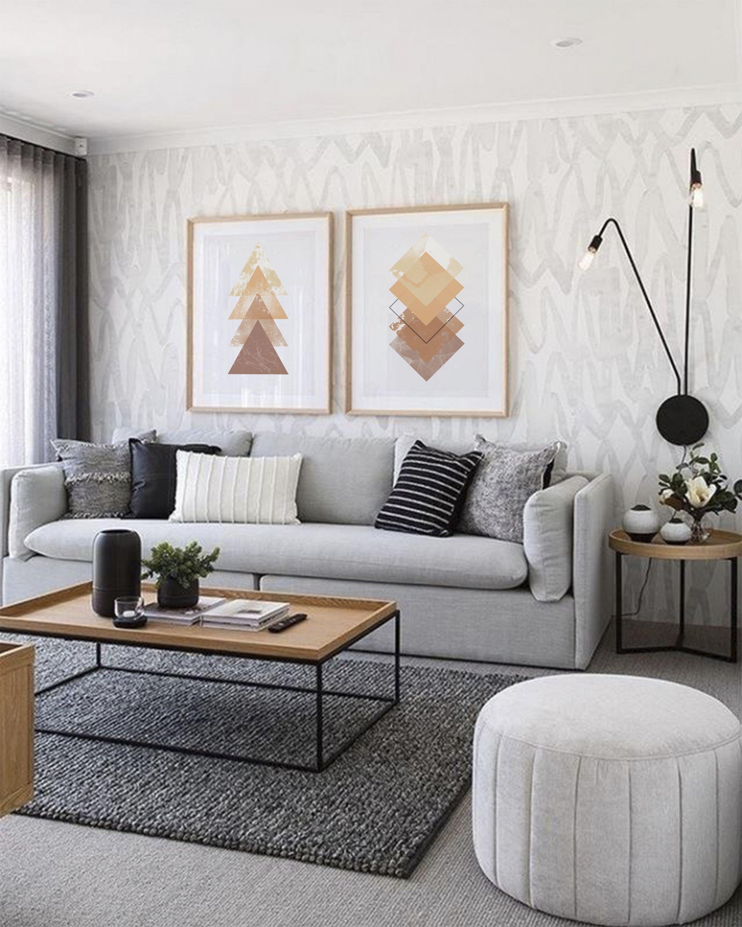 Geometric Printable Wall Art Digital Print Gold And Brown Triangles Bedroom Poster Set Of 2 Prints Living Room Decor Apartment Living Room Decor Modern Living Room Color