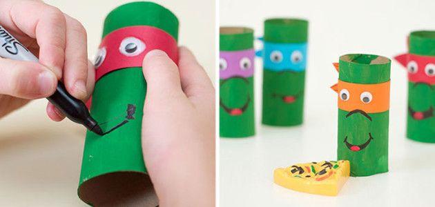 Manualidades con tubos de papel higi nico tortugas ninja - Manualidades con rollos de papel higienico para navidad ...