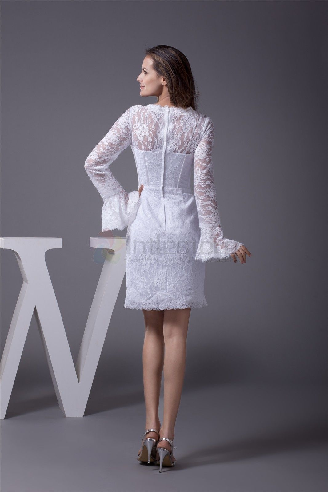 White lace dress with sleeves knee length naf dresses long sleeve