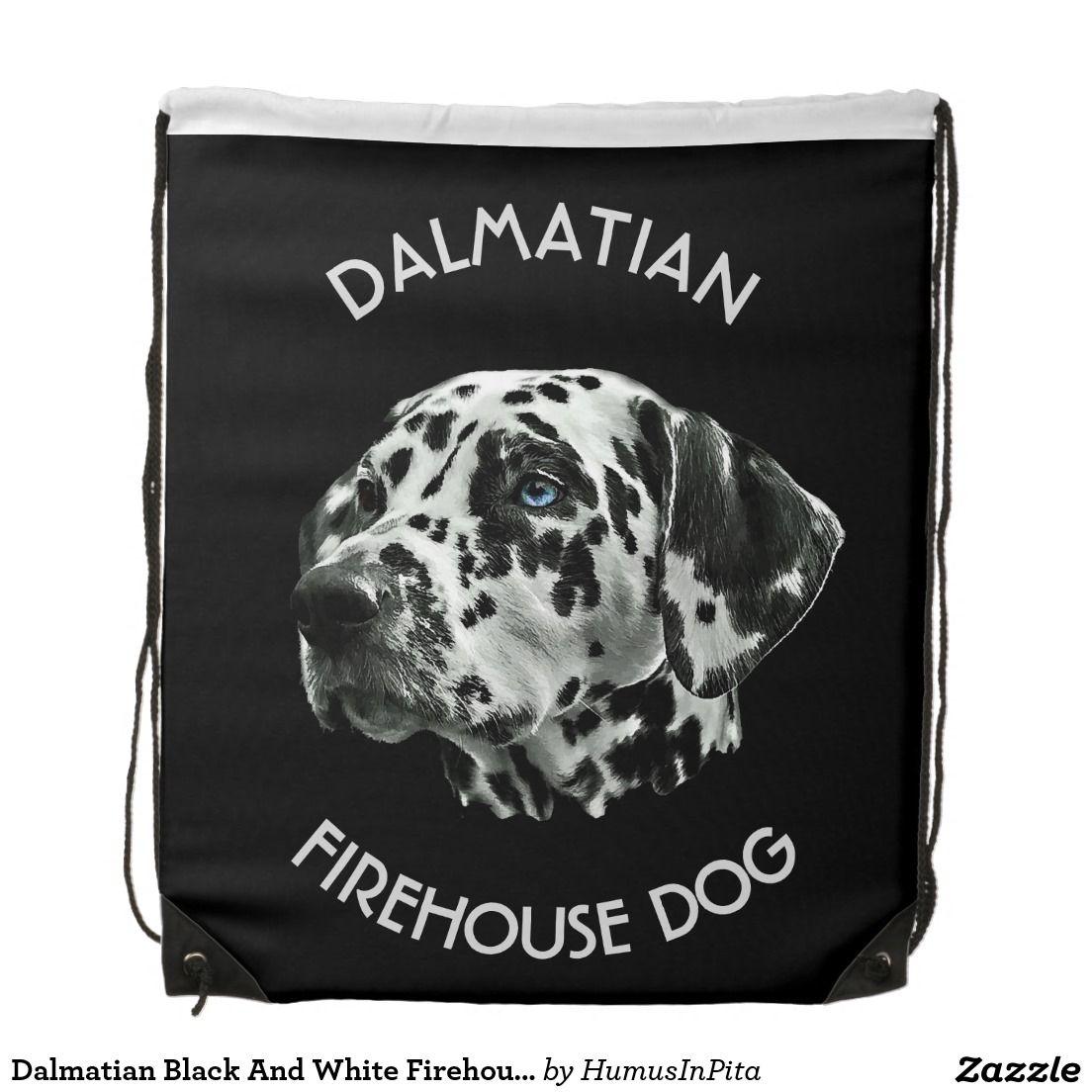 Dalmatian Black And White Firehouse Dog Drawstring Bag