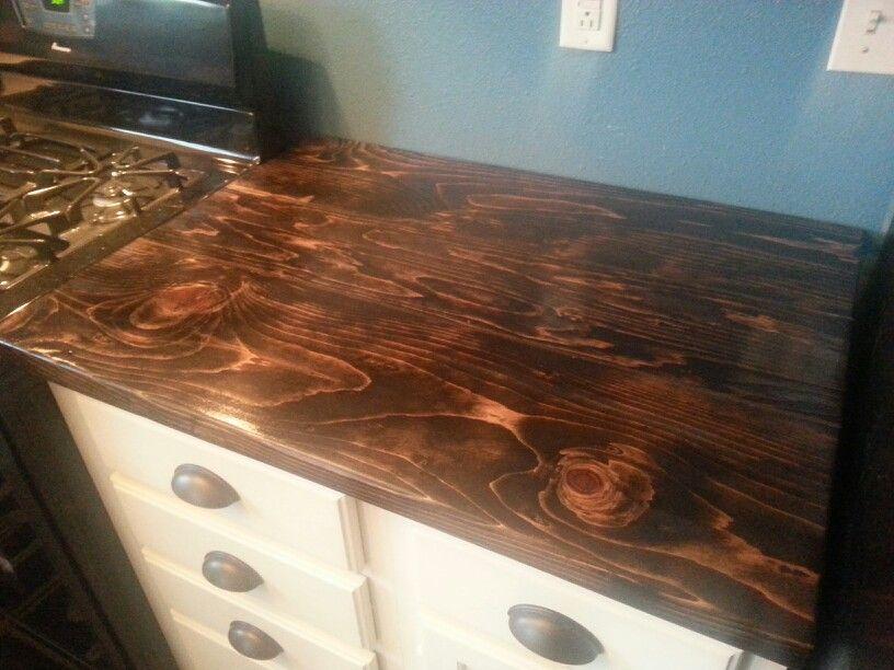 DIY butchers block countertops using Jacobean stain. Diy