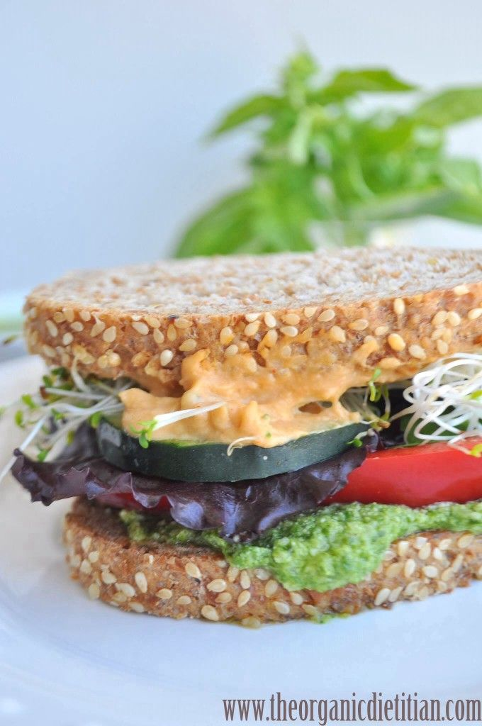 Balsamic Pesto and Hummus Sandwich: No Nitrates Here - The Organic Dietitian