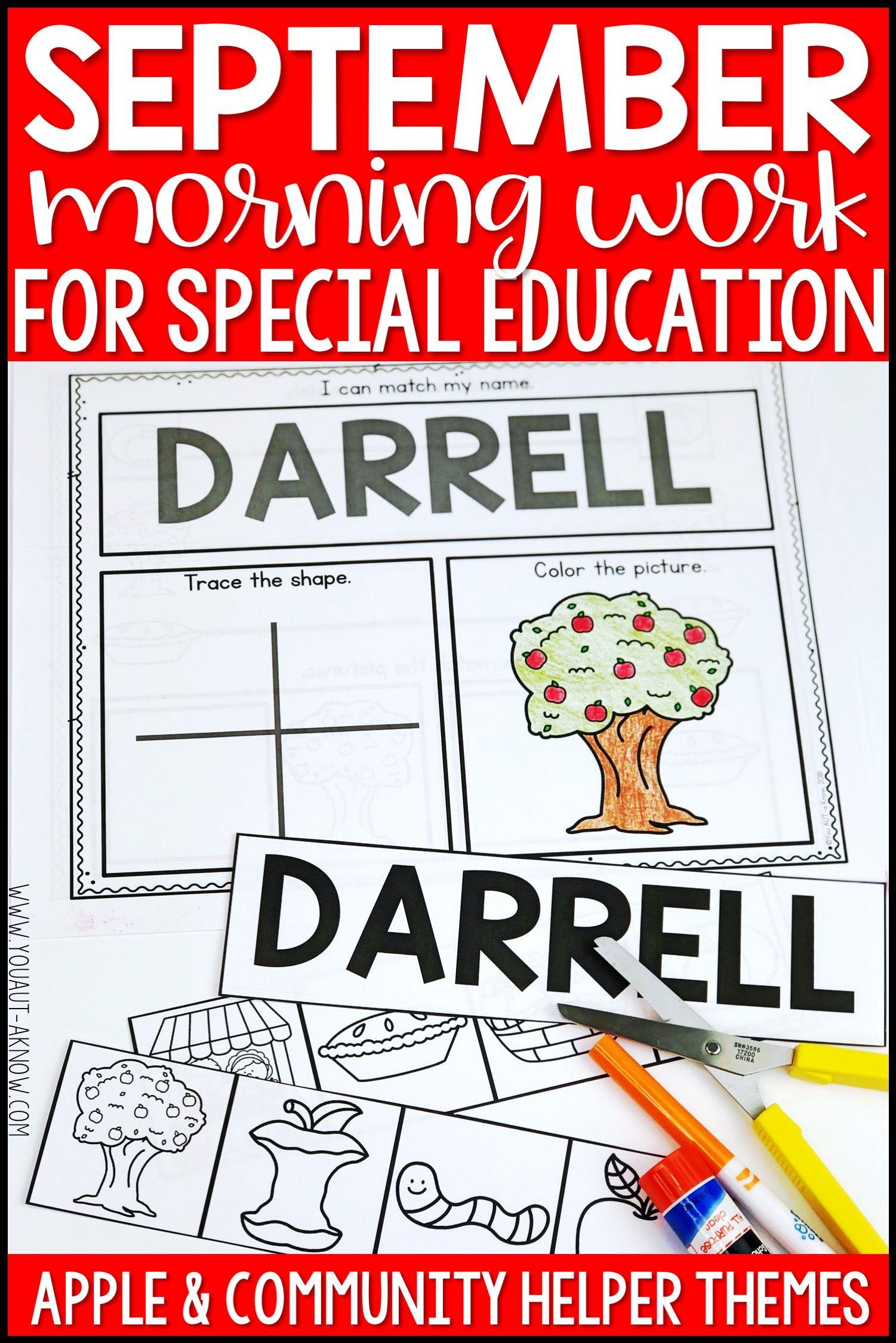 Beginning Special Education Morning Work September