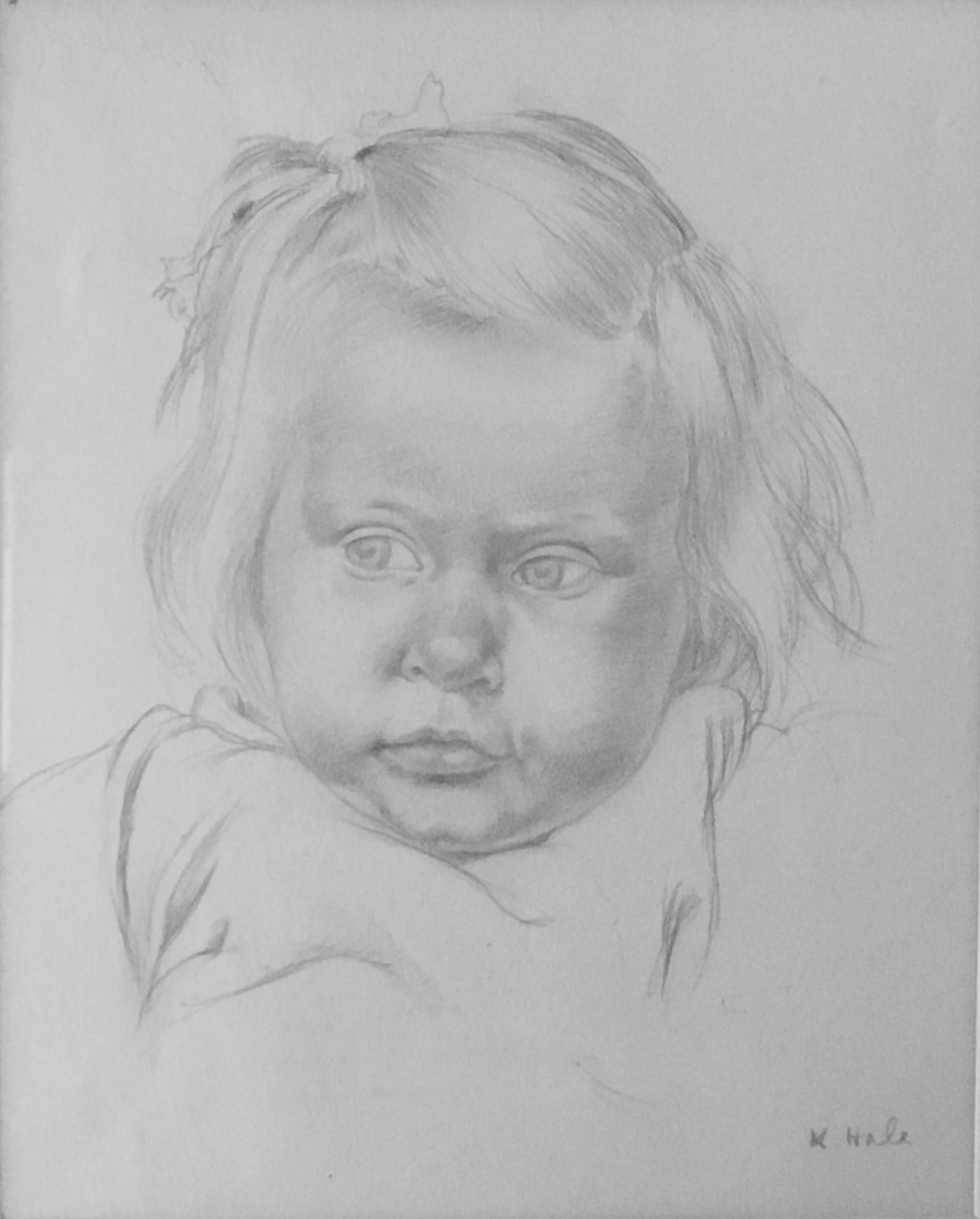 Little girl pencil drawing c 1920 kathleen hale c b e 1898 2000