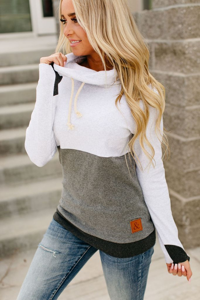 CowlNeck Sweatshirt - Colorblock Grey #womensfashion