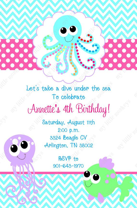 10 Under The Sea Birthday Invitations with Envelopes. Free Return ...