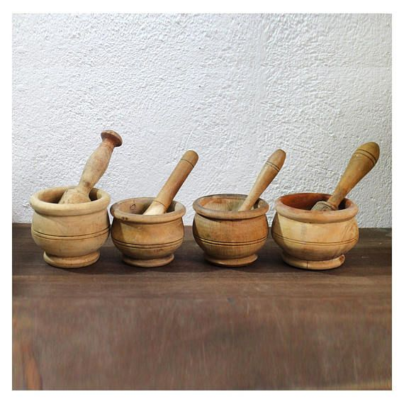 Vintage Morter and pestle collection Wooden morters and