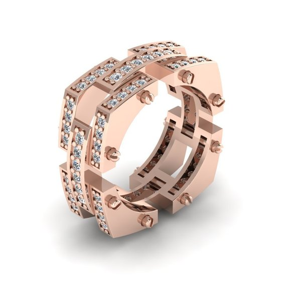 e7c06d96d1 Special Reserve - Custom Order Mens Modern 14K Rose Gold Diamond Band Ring  R1138-14KRGD